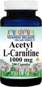 Acetyl-L-Carnitine-1000mg-Energy-Chronic-Fatigue-Focus-200-caps