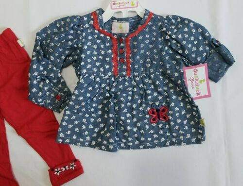 Size 18Mos Baby Girl Infant 2pc Clothing Outfit set Embroidery Flower Butterfly