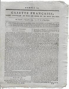 Rare-Journal-Revolution-GAZETTE-FRANCAISE-Papier-Nouvelles-Pays-an-II-1793-N-616
