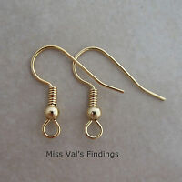 100 Gold Surgical Steel Fishhook Hook Ear Wires Earrings 21g 19mm Ball Coil