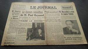 """ The Journal "" Edition Of 5 Heures Antique N°17325 Wednesday 27 Mars 1940 ABE"