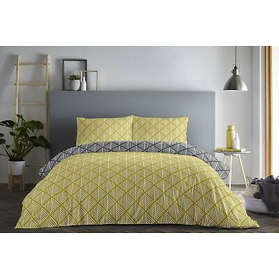 Fusion Brooklyn Geometric Reversible Duvet/Quilt Cover Bedding Set Ochre/Black