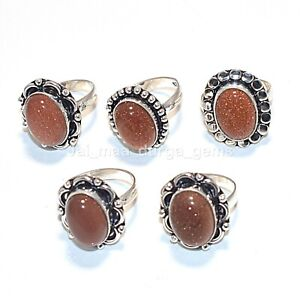 Wholesale 10 Pcs Lot Sunstone Gemstone 925 Sterling Solid Silver Rings RS-49
