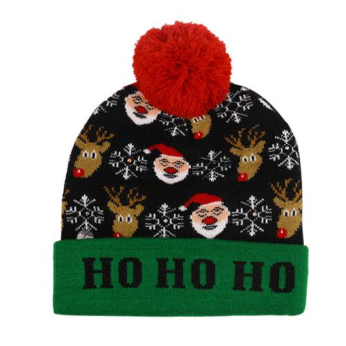 1-5X fête de Noël DEL Bonnet Beanie Knit Light Up de Noël Bonnet pour enfant adulte cadeaux