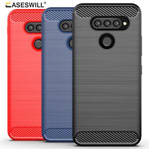 For LG G8 K51 Q70 K61 K41S K51S Stylo 6 Slim Carbon Fiber Shockproof TPU Case