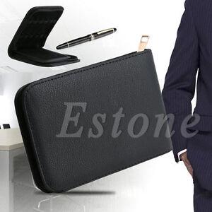 New-12-Pens-Fountain-Pen-Roller-Pen-Faux-Leather-Zipper-Case-Holder