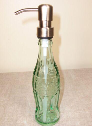 Coca Cola Coke Bottle Glass Soap Pump Dispenser Bronze Silver Green Farm Soda