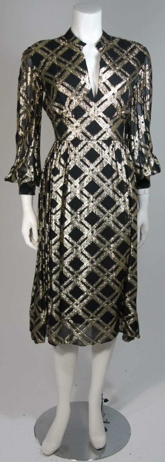 CEIL CHAPMAN Black Silk and Gold Cocktail Dress S… - image 2
