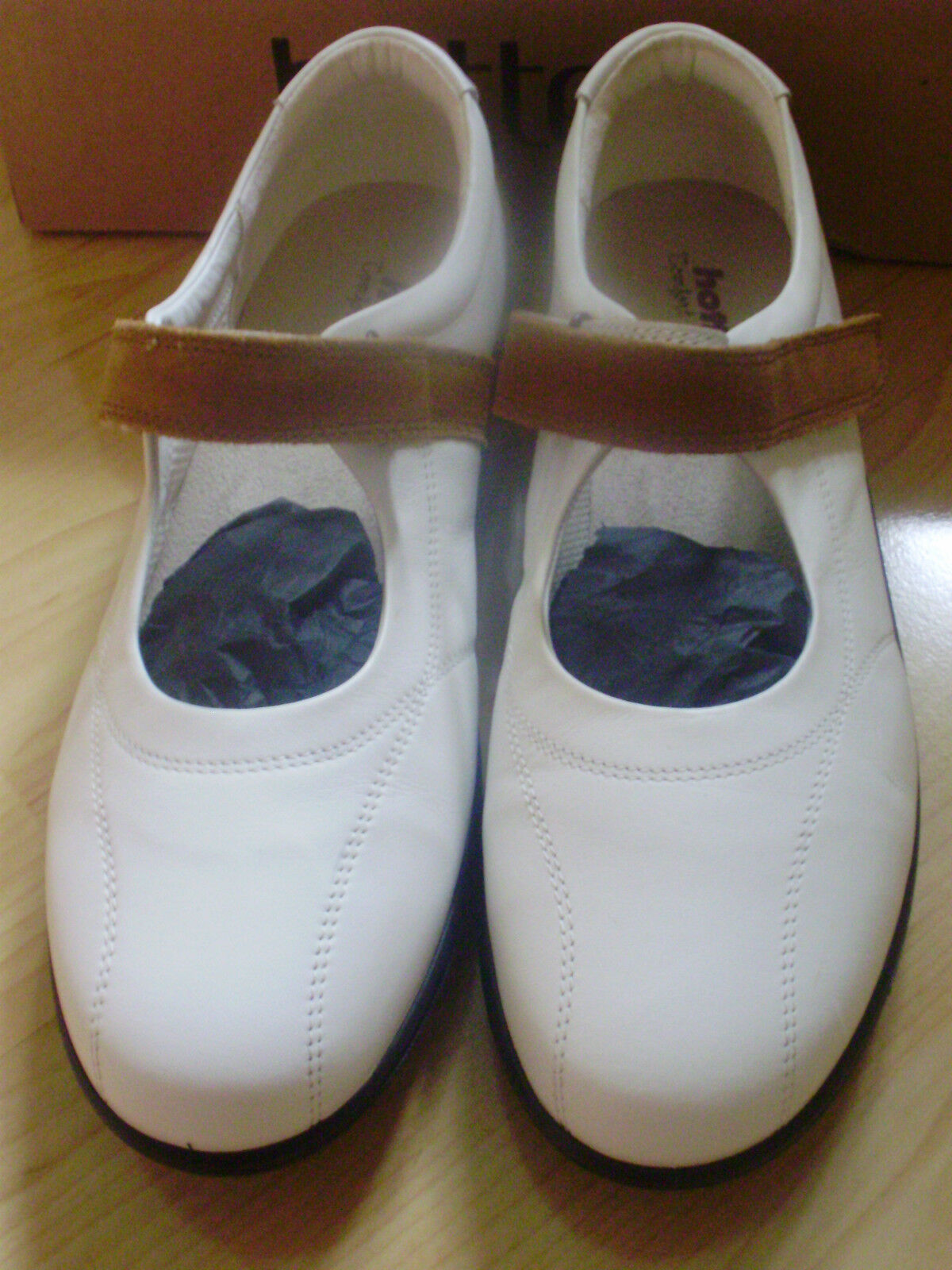 NEW HOTTER Schuhe 'HAPPY' Weiß LEATHER Schuhe HOTTER PUMPS FLATS UK 8 EUR 42 US 10 9b99fa