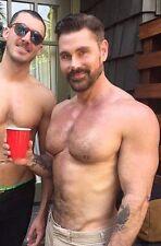 Shirtless Male Muscular Hunks Beefcake Beard Hairy Chest Guy PHOTO 4X6 D166