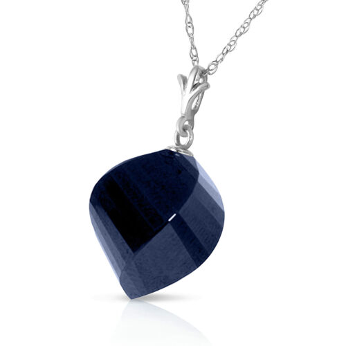 15.25 CTW 14K Solid White Gold Necklace Twisted Briolette Sapphire Gemstone