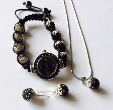 LOVELY SHAMBALLA BLACK & WHITE GRADIENT 10mm  WATCH, NECKLACE & STUD EARRINGS