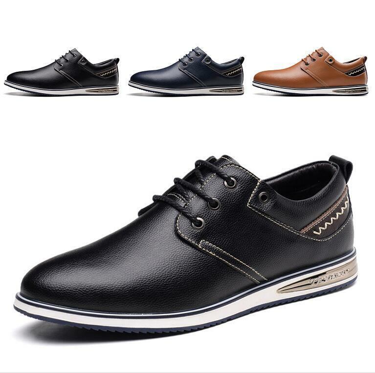Men's Round Toe Lace-up Dance Bash Leather Snesker Breathe Comfort Casuals shoes