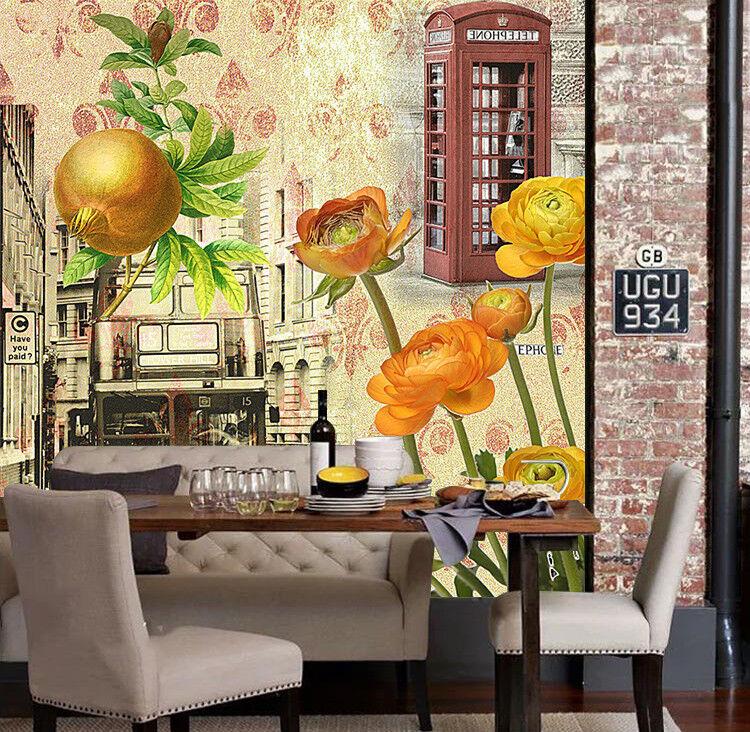 3D Straßenbus Blumen 527 Tapete Tapeten Mauer Foto Familie Tapete Wandgemälde DE