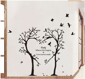 Details about Family Love Tree Wall Art Sticker Inspirational Quote Vinyl  Decal Bedroom Office