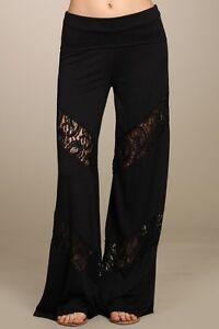 BNWT-CHATOYANT-Size-8-Womens-Black-Lace-Lounge-Bohemian-Lace-Palazzo-Pants