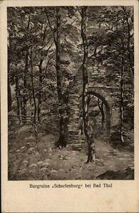 Burgruine-Scharfenburg-bei-Bad-Thal-Thueringen-Postkarte-1920-Partie-an-der-Burg