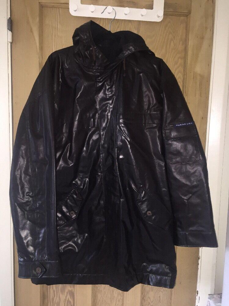 Guess USA Braun Polyester Outer Lana Wool Innner Coat Größe M AtoA25