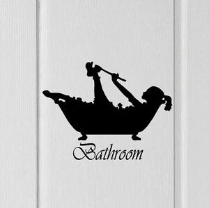 Image Is Loading Bathroom Door Wall Silhouette Woman Showering Decal Vinyl