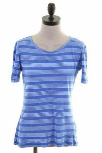 Jack-Wills-Damen-T-Shirt-Top-UK-12-Medium-Blau-Gestreift-Baumwolle-jm71