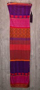 HALE BOB Printed Stretch Silk Pink Purple Blue Casual Maxi Dress NEW Womens Sz M