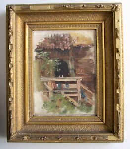 00a00cbee59e Antique Oil Painting Signed G.K. 10 (1910) Ornate Gold Gilt Picture ...