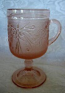 INDIANA-GLASS-TIARA-Pink-Peach-Sandwich-Glass-Footed-Mug-Made-in-U-S-A