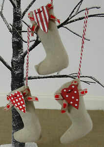 Set-of-3-Christmas-Stocking-Decorations-Hessian-Style-Vintage-Chic-Tree-Xmas