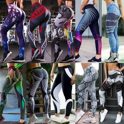 UK Womens Seamless Leggings Yoga Pants Sports Gym High Waist Push Up Stretch K28