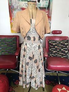 1930s-40s-Original-Novelty-Heart-Print-Dress-amp-Bolero-12-14