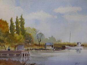 Aquarelle Chesapeake Bay énumérés artiste Norman dinnage livraison gratuite Angleterre-afficher le titre d`origine