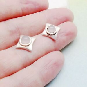 Rosenquarz-rund-eckig-rosa-Design-Ohrstecker-Ohrringe-925-Sterling-Silber-neu