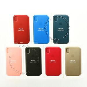Genuine Original Apple iPhone X / iPhone XS Leather Folio Hard Snap Cover Case