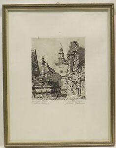 """"""" Markusturm / Fontaine Rothenburg O. D.tauber """" Org.rad. Sign.hans Böhme En Les Produits Sont Vendus Sans Limitations"""