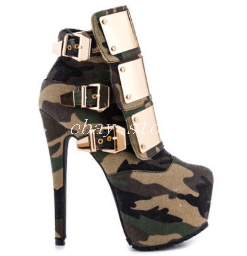 Womens camouflage Platform Ankle Boots Goth Metal Buckle Buckle Buckle Punk shoes Stilettos SZ 80731b