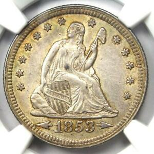 1853-Arrows-amp-Rays-Seated-Liberty-Quarter-25C-Certified-NGC-AU55-Rare-Coin