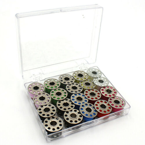 US Metal Bobbins With 20 colors Sewing Machine Spools Yarn Sewing Spool Set Box