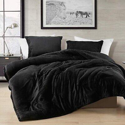 Super Soft Black Faux Fur Down Alt 3, King Queen Bed Set