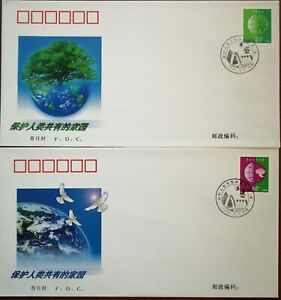 China-FDC-2-pcs-2002-Protecting-the-Common-Homeland-of-Mankind