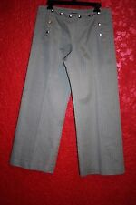 JEAN PAUL GAULTIER HOMME PANTS, BUTTONS DETAIL GREEN STRIPED IT 48, GB 38 USA 32