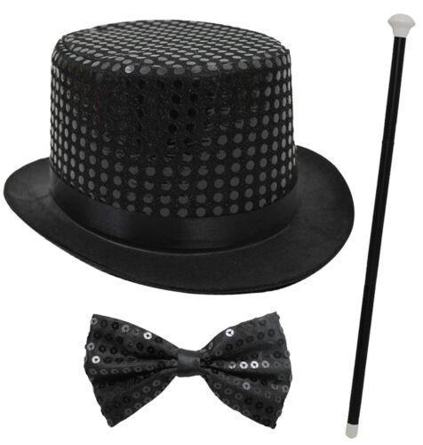 Nero Con Paillettes Top Hat Dance Cane Papillon Costume Maestro della CAMPANELLA Cabaret Show
