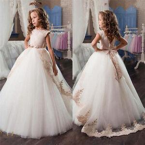Princess Tutu Flower Girl Dress Kid Party Pageant Wedding Bridesmaid Dresses