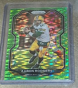 2020-Panini-Prizm-Aaron-Rodgers-Green-Pulsar-Prizm-Green-Bay-Packers-NFL