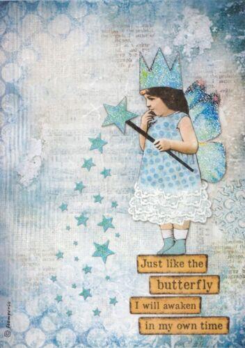 Rice Paper for Decoupage Decopatch Scrapbook Craft Sheet Blue Stars Magic Wands