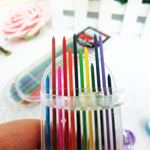 Newly 2.0mm 2B Colored Pencil Lead 2mm Mechanical Clutch Refill Holder 12Colors