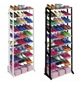 10 Tier Plastic Free Standing Shoe Rack Fits 30 Pairs of Shoes