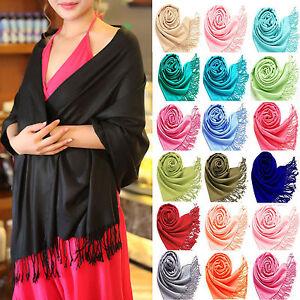 nuovo massimo presentando grande vendita Dettagli su Donna Pashmina Hijab Sciarpa Stola Collo Wrap Sposa Scialli-  mostra il titolo originale
