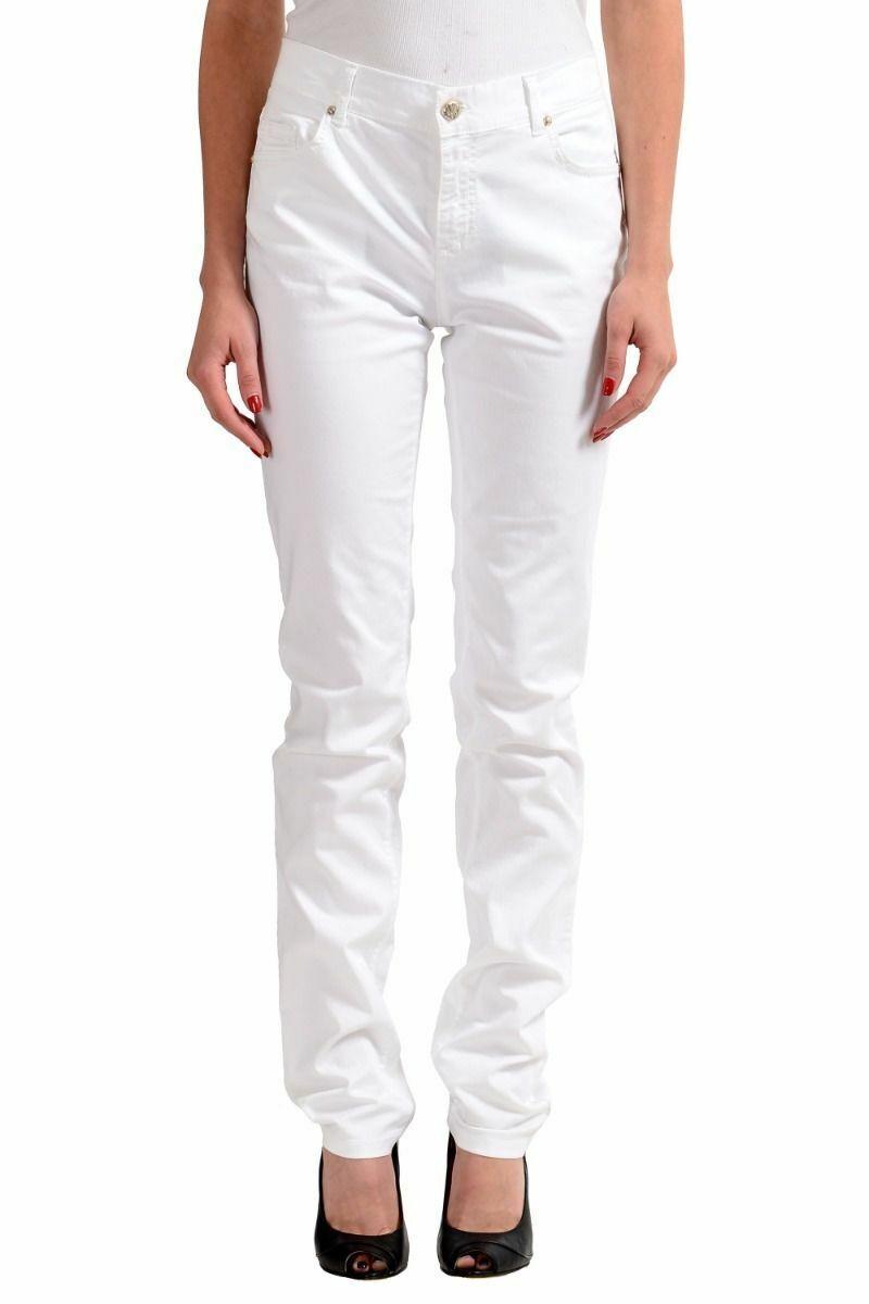 Versace Jeans White Women's Straight Leg Denim Jeans Sz 5 6 7 8 9
