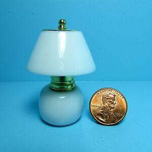 Dollhouse Miniature Porcelain Table Lamp with White Shade & Base ~ RA0175