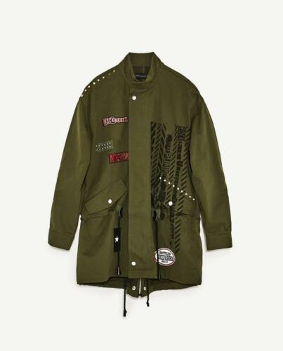 M//L ZARA Womens ROCK /& Roll Punk Embellished Printed Parka Jacket Green NWT Sz
